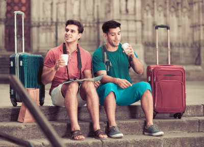 Left Luggage - Vacation Rental Mailbag, Traveling Men Drinking Coffee with Luggage
