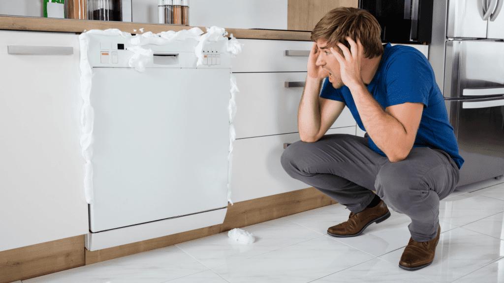 Broken Appliances, Man screams at Foaming Dishwasher - Featured