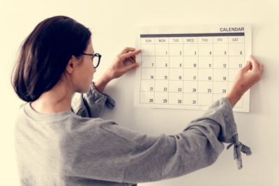 Family and Friends, Woman Looking at Calendar