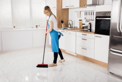 VRBO Cleaning Gone Bad, Woman Sweeping Floor